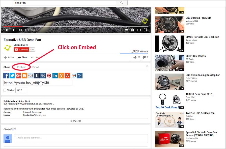 YouTube-click on Embed